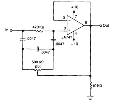 Notch filter uses an Operational Amplifier Circuit Diagram
