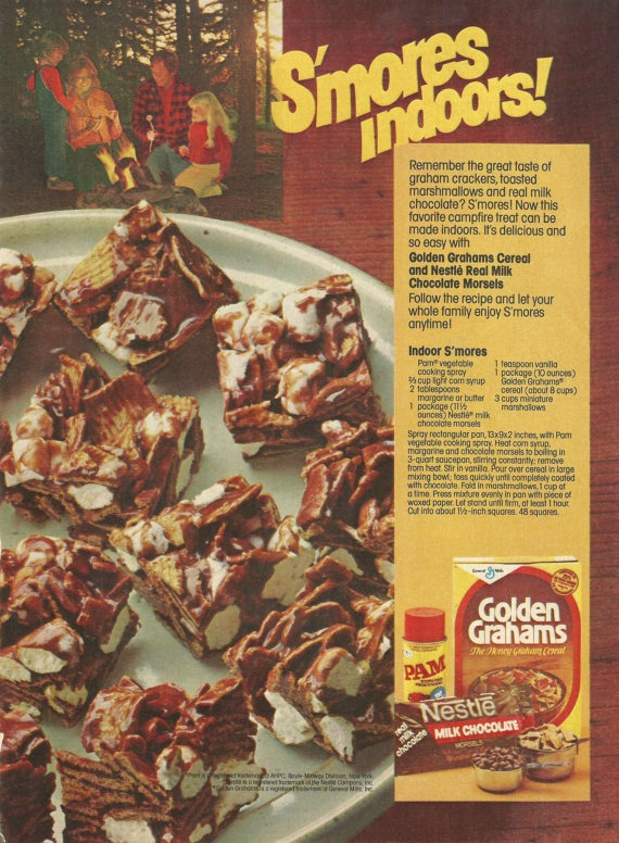 Dying for Chocolate: S'mores Indoors: Retro Ad & Recipe