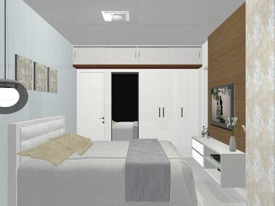 quarto de casal com móveis planejados