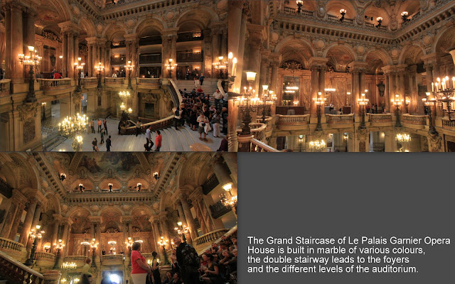 The Grand Staircase of Le Palais Garnier Opera House is built in marble of various colours in Paris, France