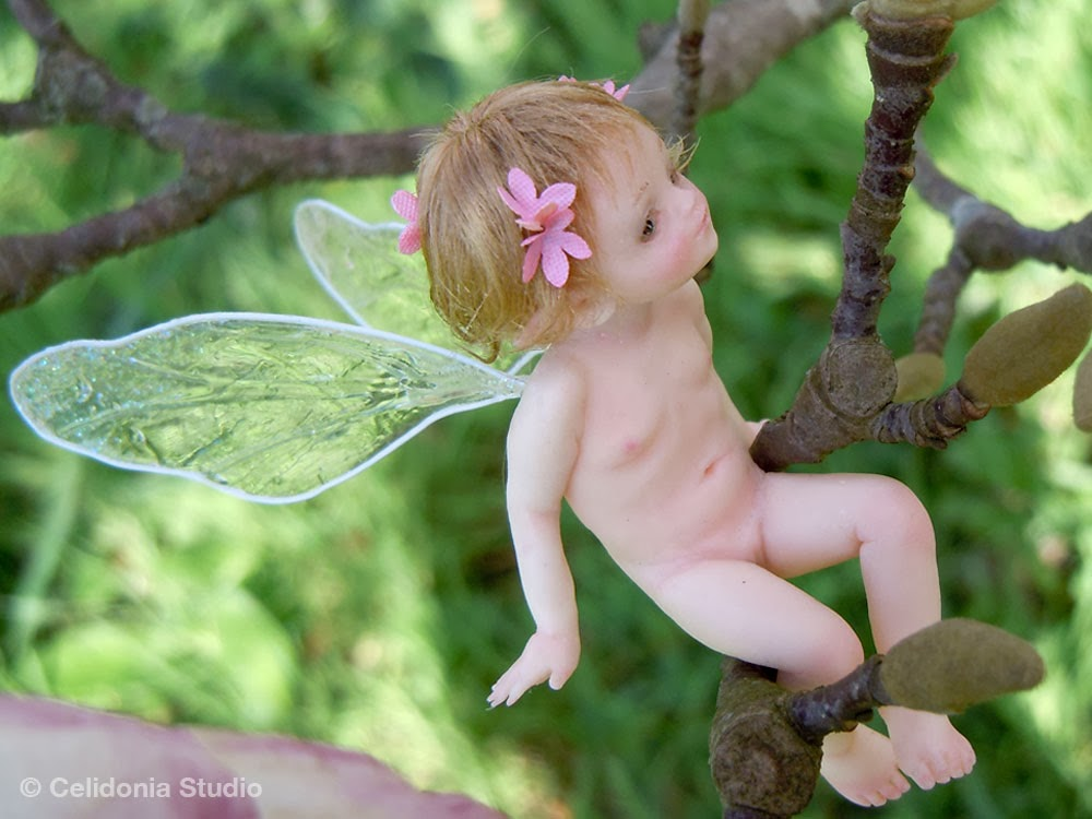 OOAK Fairy sculpted in Polymer Clay by Celidonia