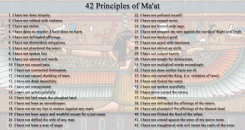 Kemet: 42 Principles of MAAT