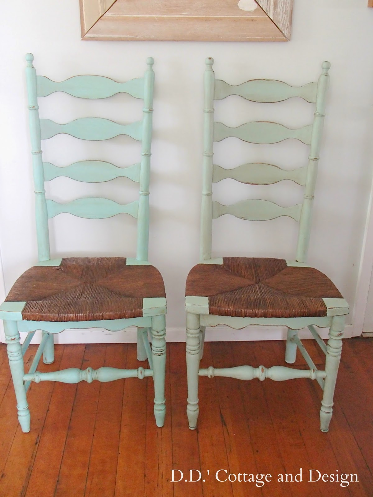 4 Ladder Back Chairs With Rush Seats