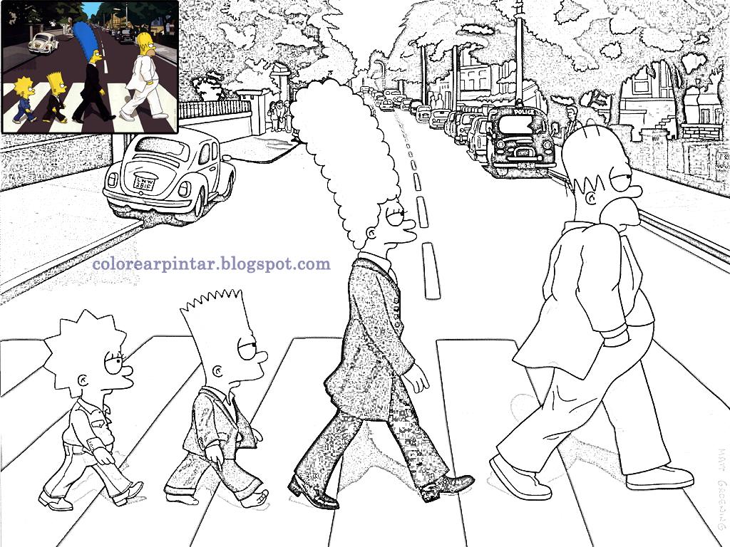 Colorear Pintar: Caratula de Beatles por los Simpsons para colorear
