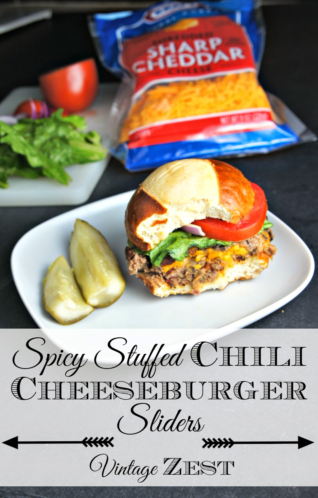 Spicy Stuffed Chili Cheeseburger Sliders #shop #SayCheeseburger #CollectiveBias #cbias