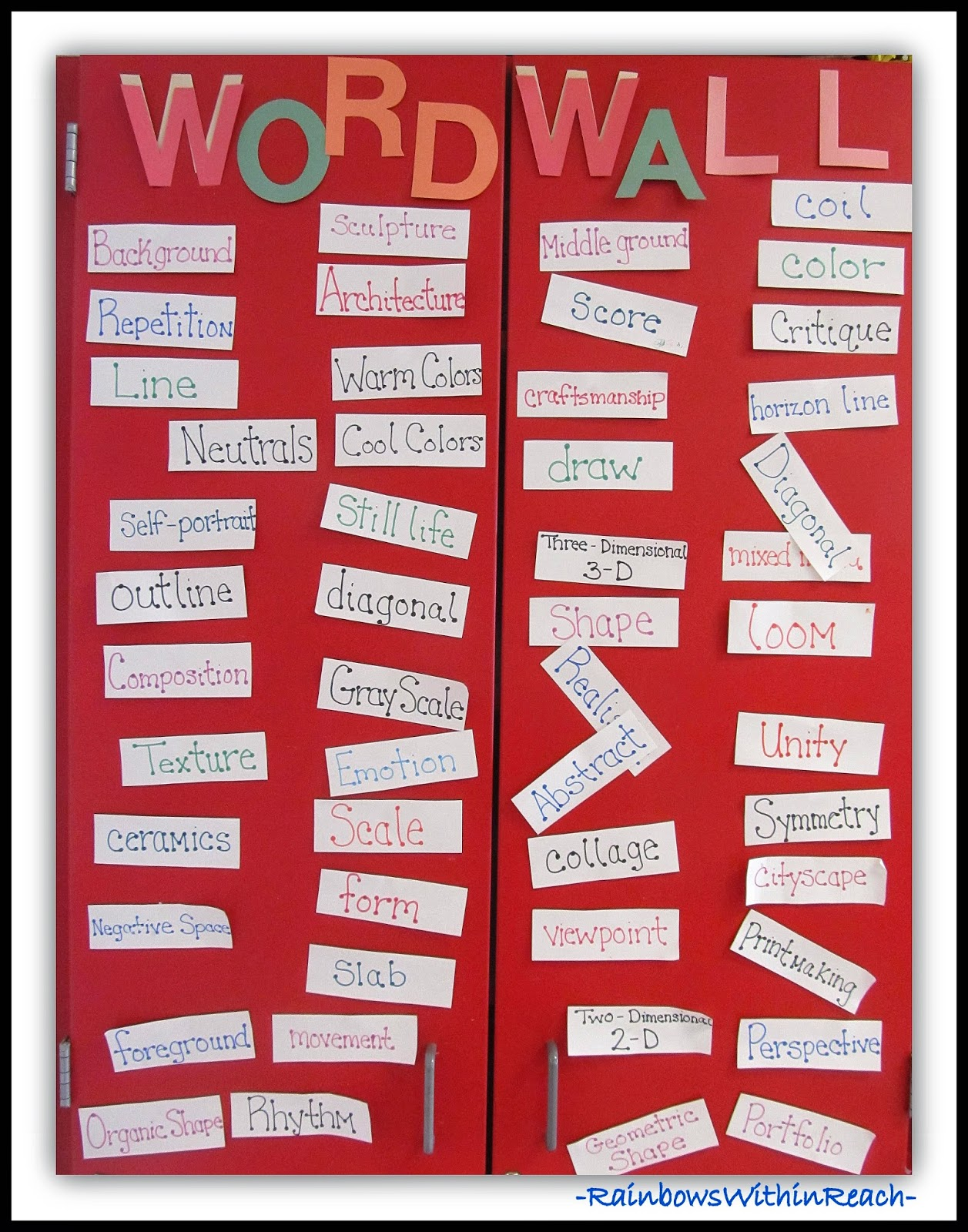 Word Wall for the Art Room: Word Wall RoundUP at RainbowsWithinReach