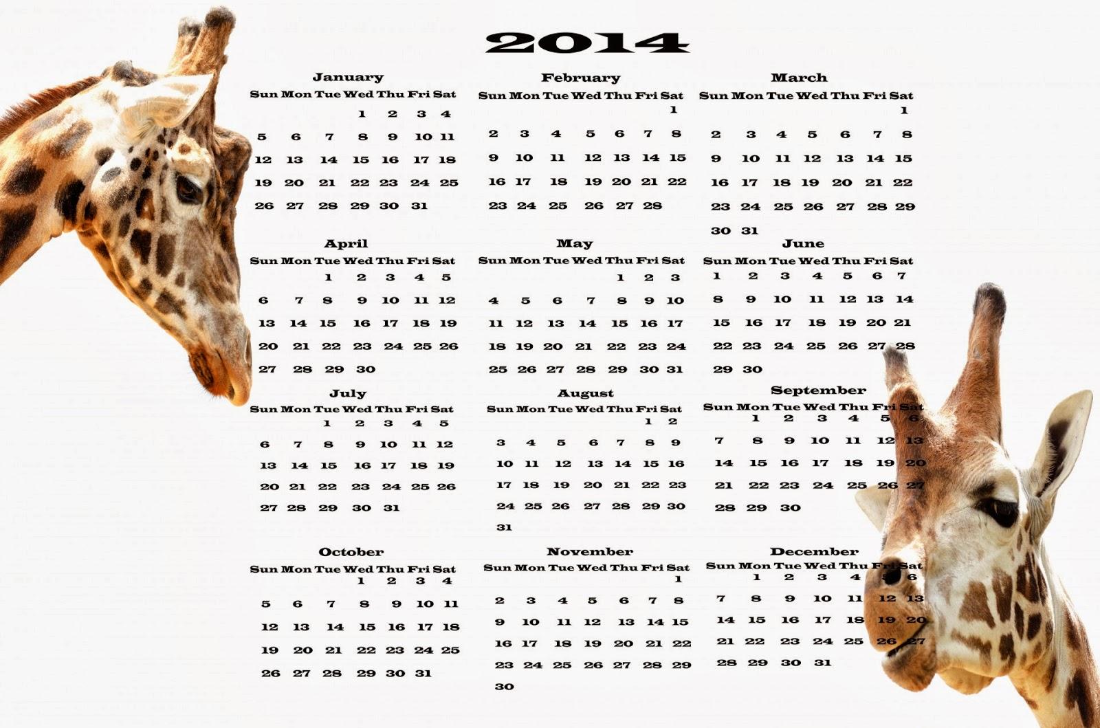 Calendar 2014 Animal
