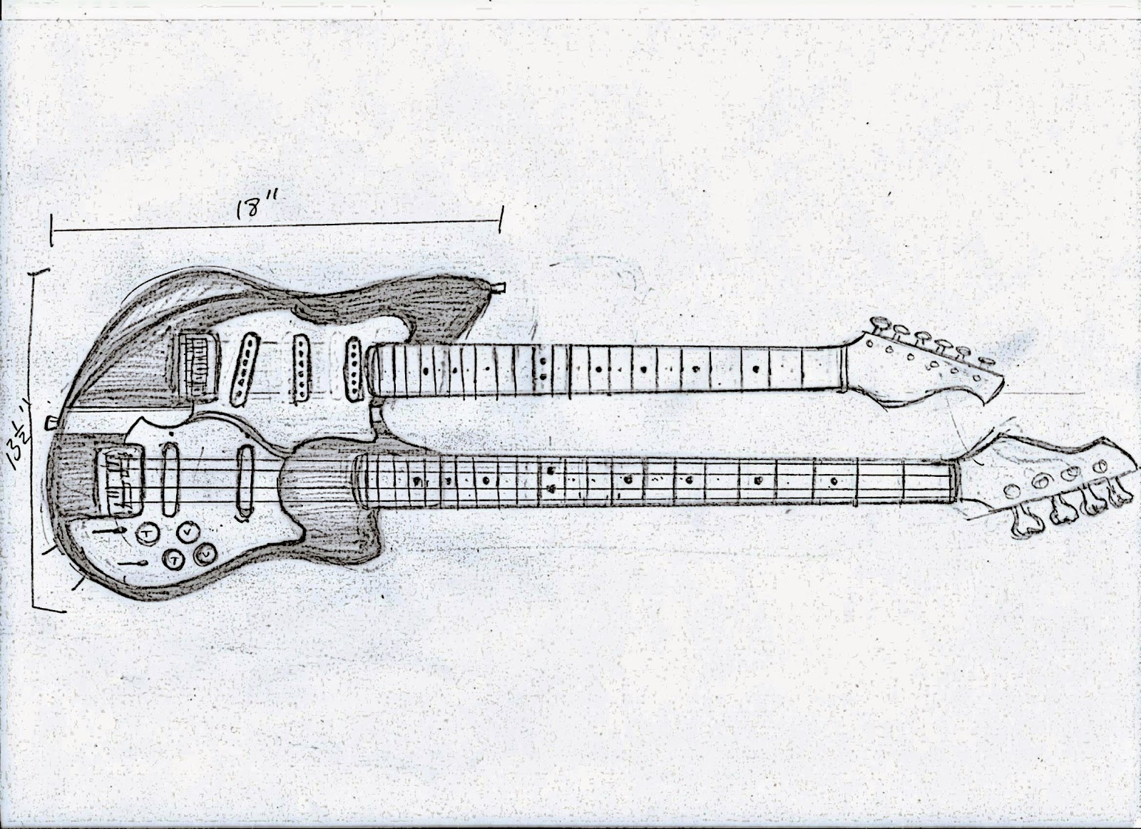 Shonky Double Neck Guitar 6 String Bass Sg Wiring Diagram Mockup Which Doubled As A Template