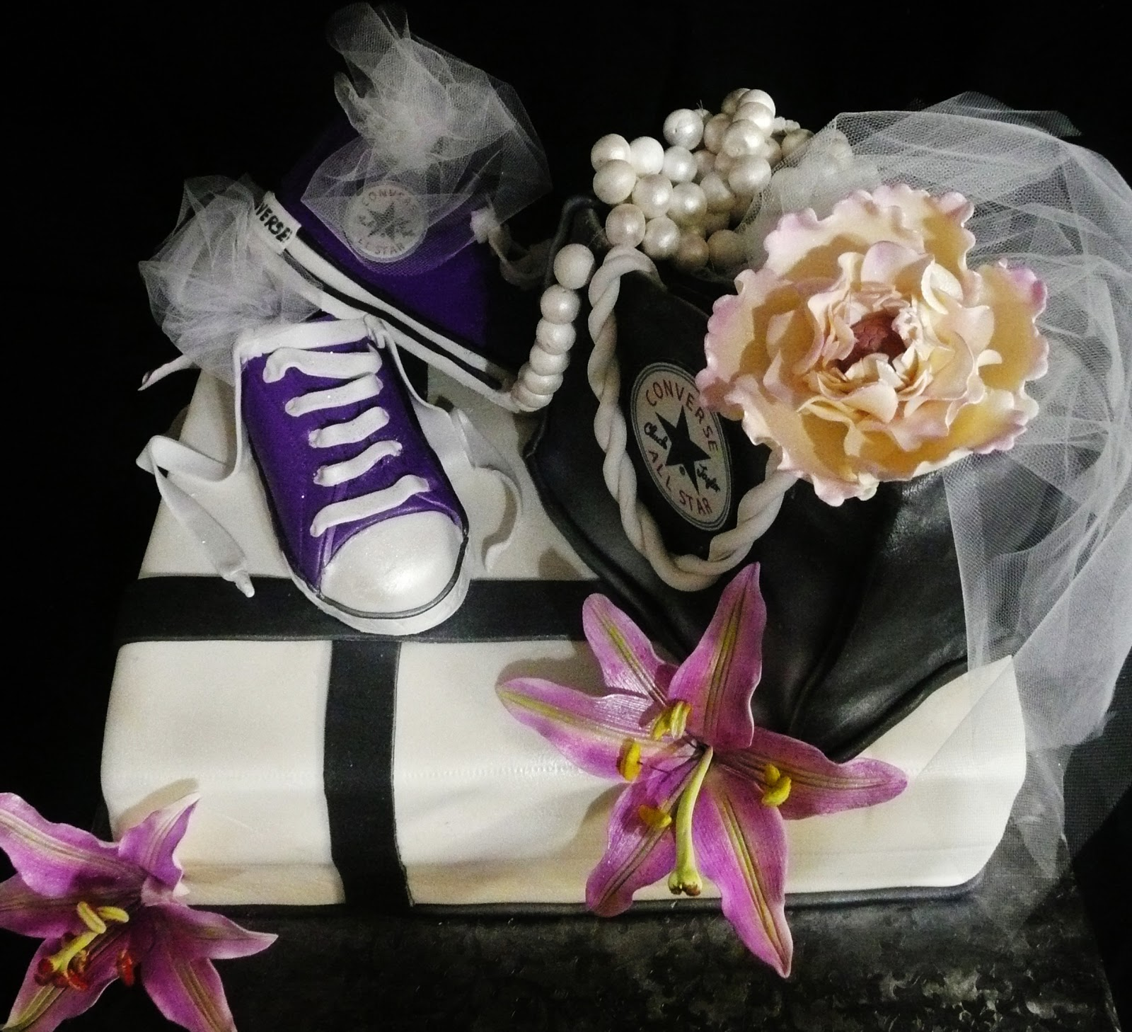 converse themed bridal shower cake
