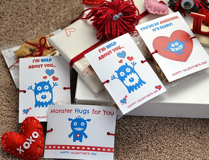 monster printable valentines day cards