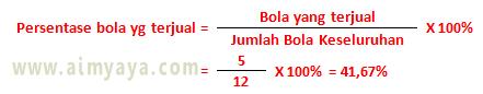 Gambar: Contoh perhitungan menggunakan rumus persentase (%)
