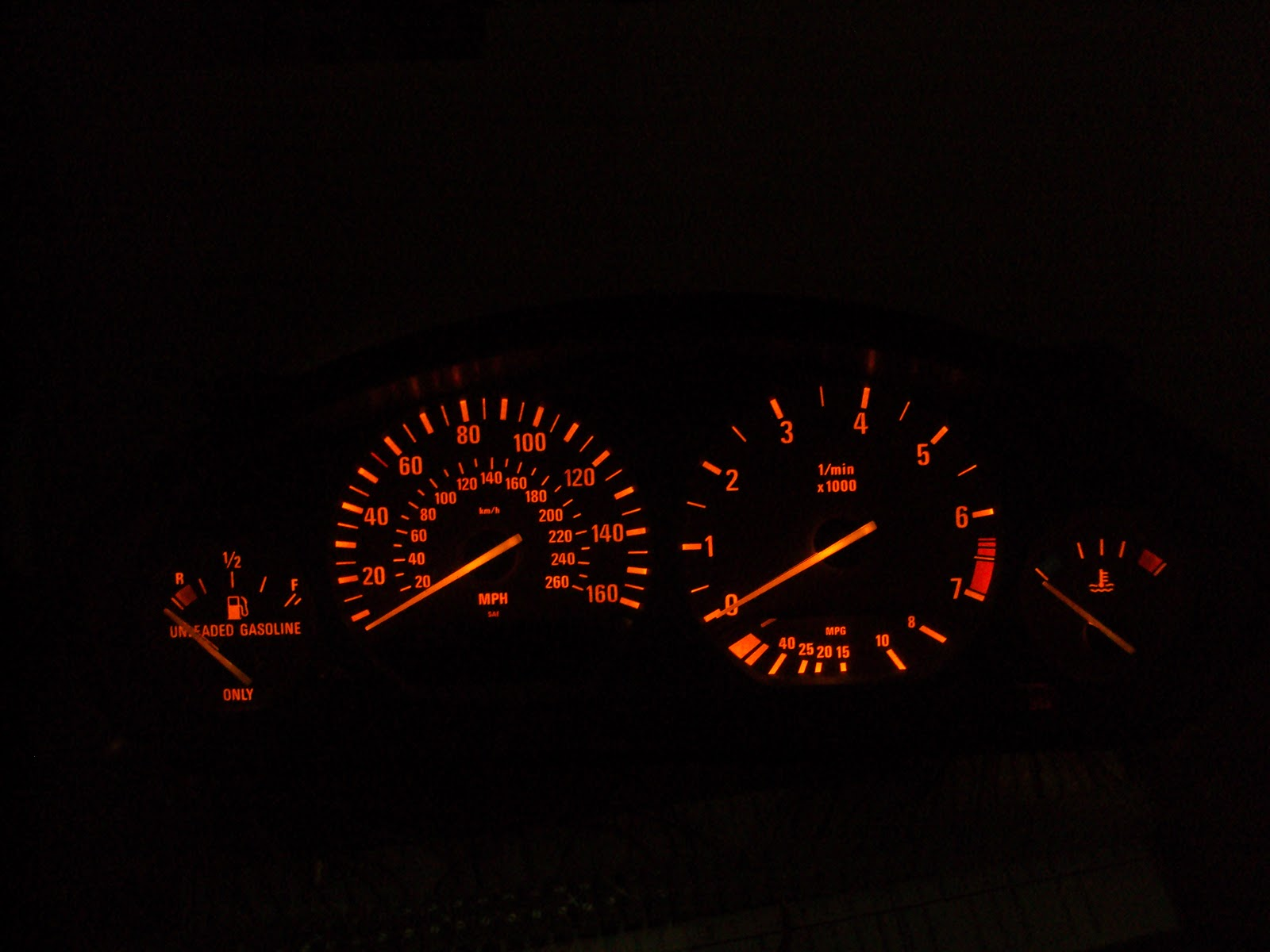 Showing the back lighted instrument cluster after connecting 12 volts to  CONN A pin 2 and ground to CONN B pin 3.