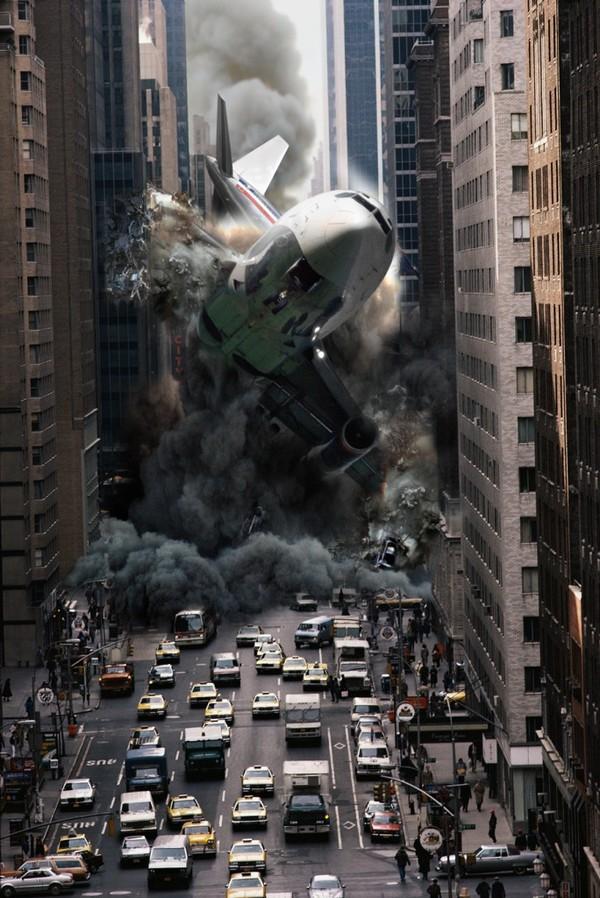 Boeing caindo em Nova York , queda de avião na rua