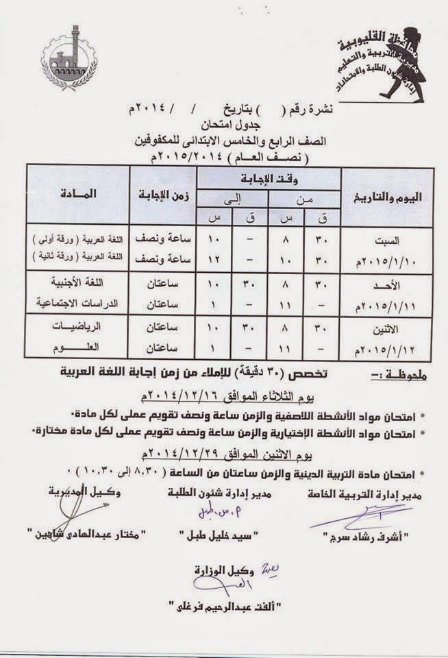 جداول امتحانات فرق ابتدائى الترم الأول 2015 لمحافظة القليوبية 10846210_65550216790