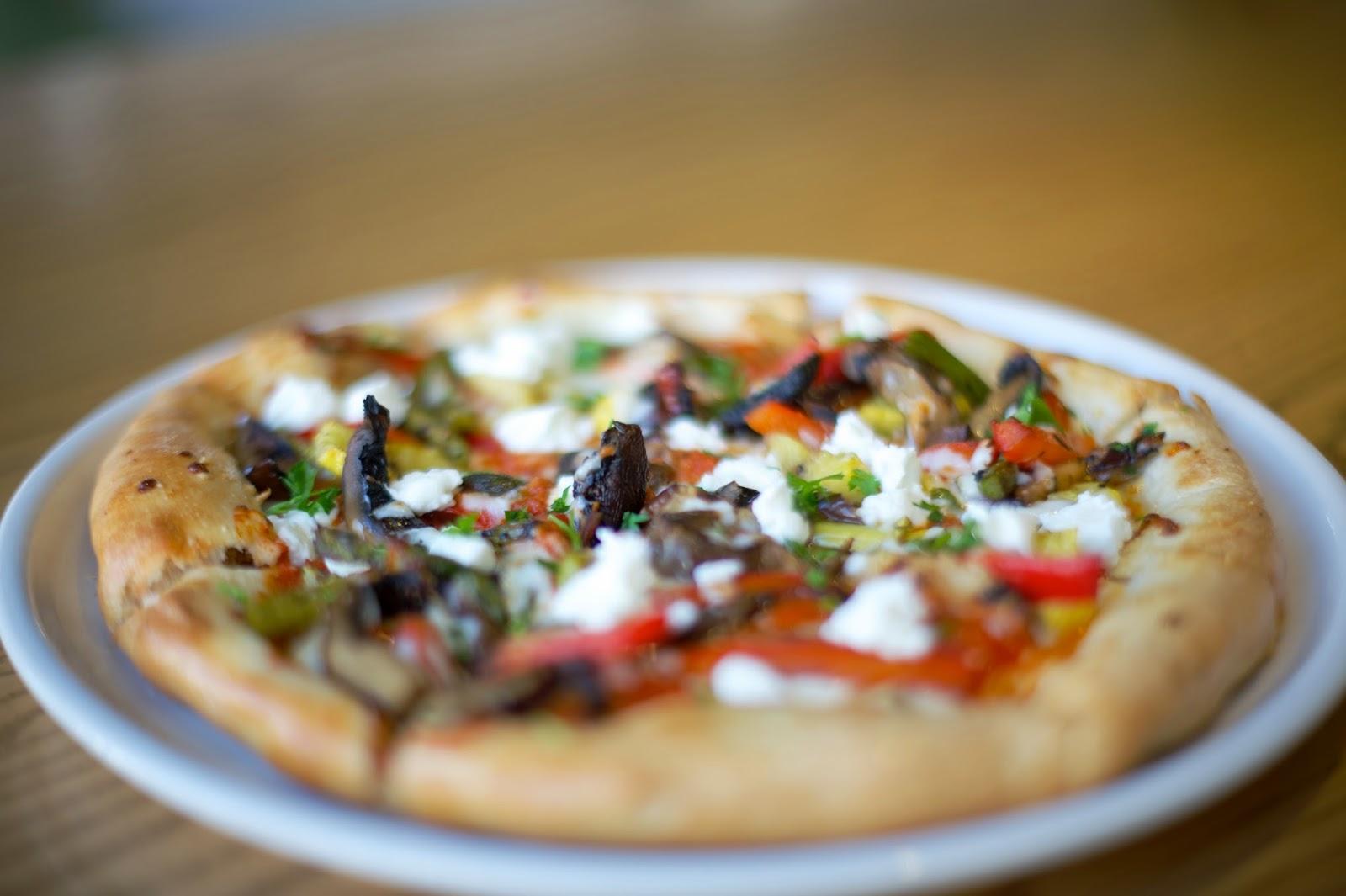 Zucchini, Mushroom, Goat Cheese Pizza
