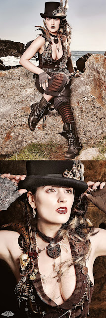 This Gothic Steampunk costume includes a ton of jewelry, top hat and boots.
