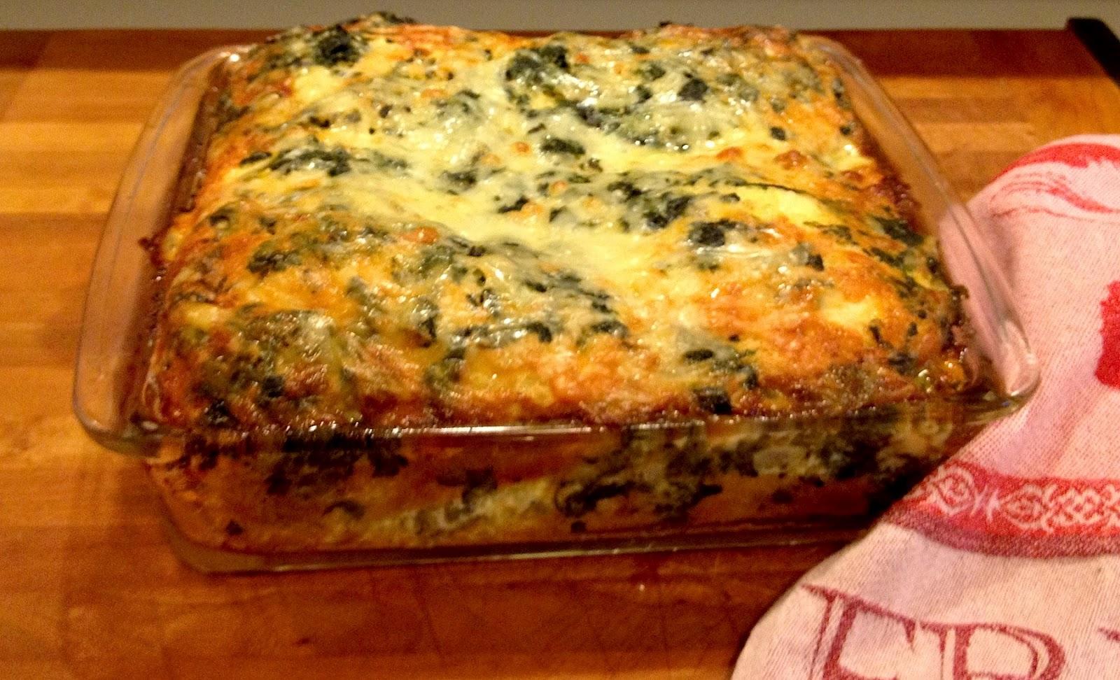 ... : For Breakfast, Lunch or Dinner: Spinach, Mushroom & Bacon Strata