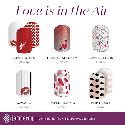 Jamberry, Valentine's Day, Nail Wraps, #lovepotionjn, #swakjn, #heartsaplentyjn, #paperheartsjn, #lovelettersjn, #popheartjn