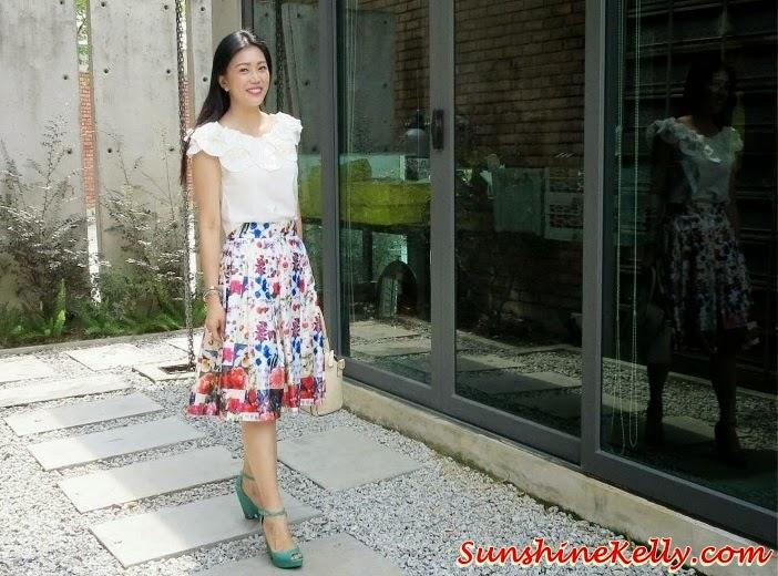 Floral Midi Skirt & Ruffles Pleated Blouse from Corshacomo, Floral Midi Skirt, Ruffles Pleated Blouse, Corshacomo, Rush BL, Blossom SK, Online Boutique, Korean Fashion Trend, Fashion, Fashion blogger