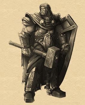 Un paladín armado con escudo grande y martillo.