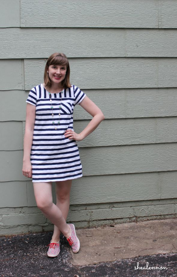 summer weekend look: striped dress with floral sneakers | www.shealennon.com