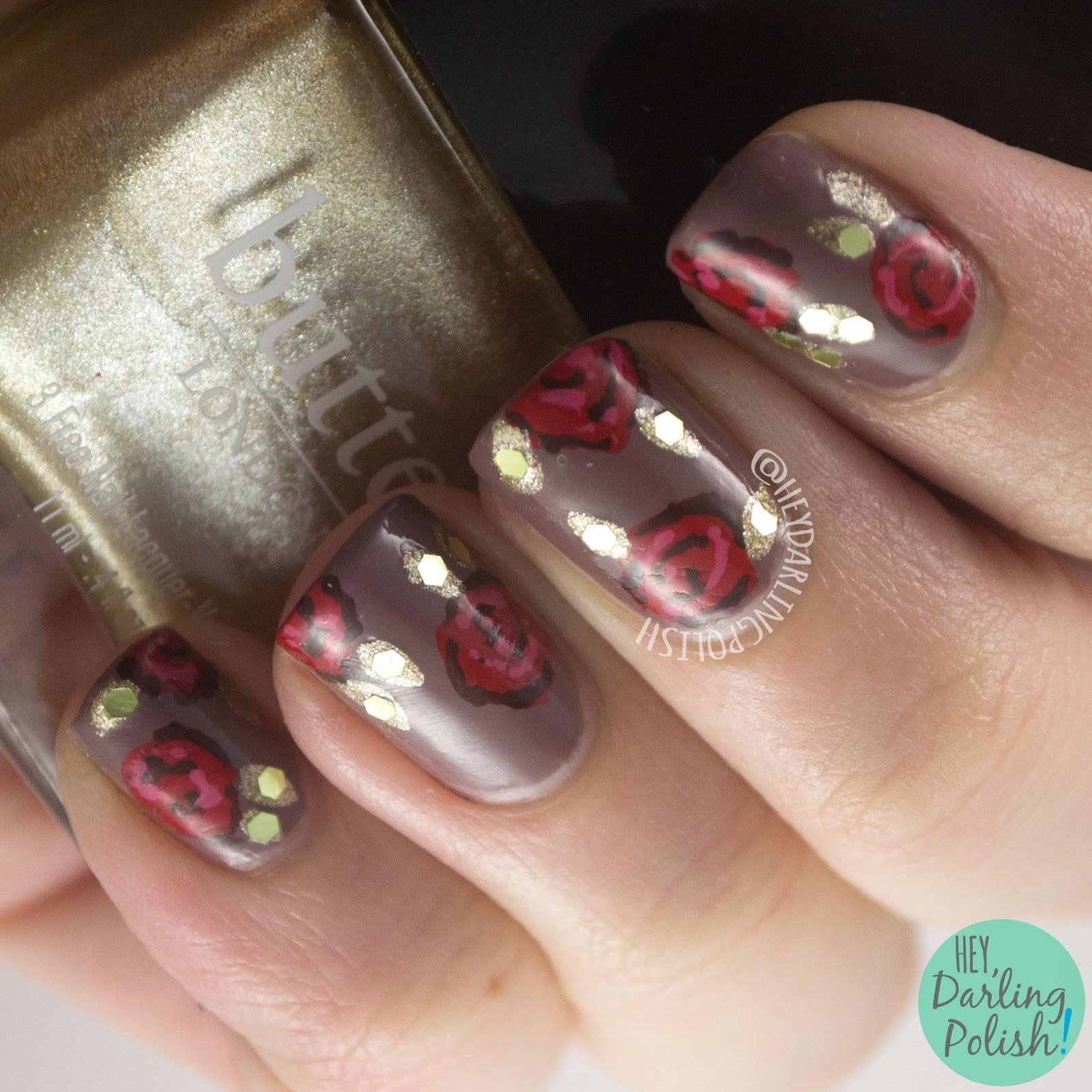 nails, nail art, nail polish, hey darling polish, roses, red, gold, fashion, dolce and gabbana, the nail challenge collaborative