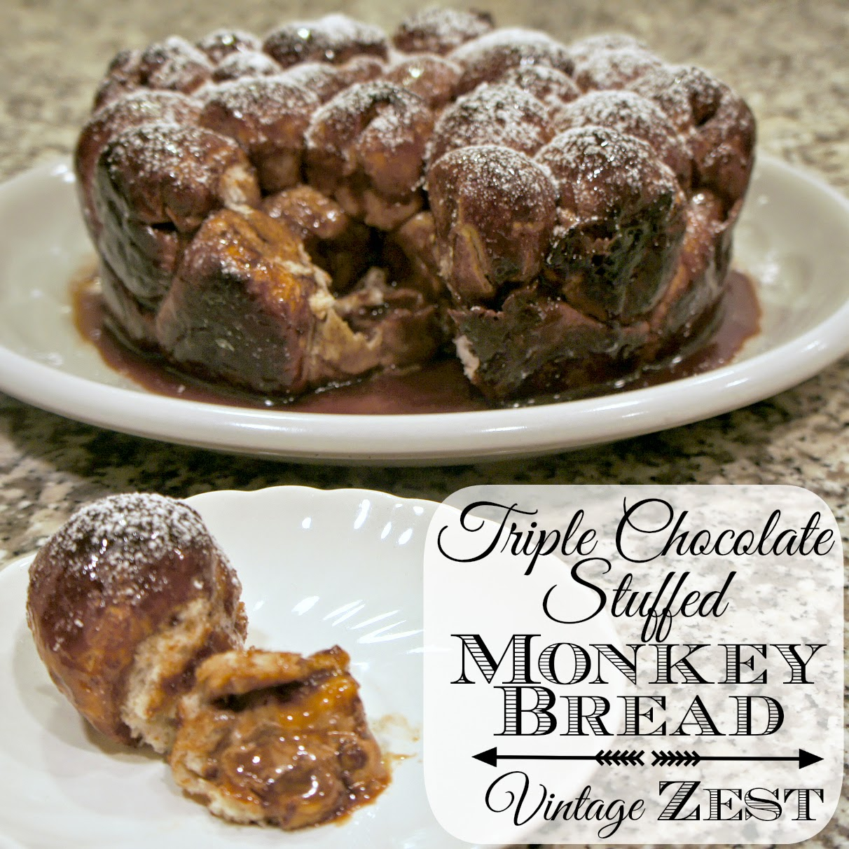 Triple Chocolate Stuffed Monkey Bread with Milky Way Bites #shop #gamedaybites