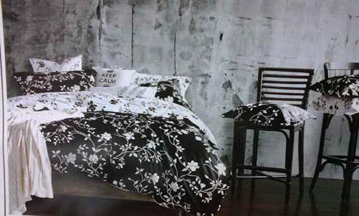 Sprei Katun Jepang Motif Bunga Black and White