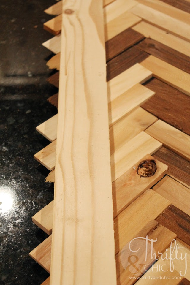 DIY Herringbone Pattern Wall Art using wood shims