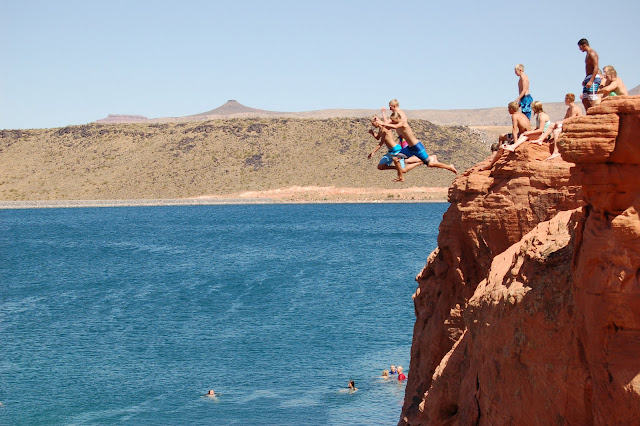Jumping off a 30 Foot Cliff into the Water at Sand Hollow Near St. George Utah