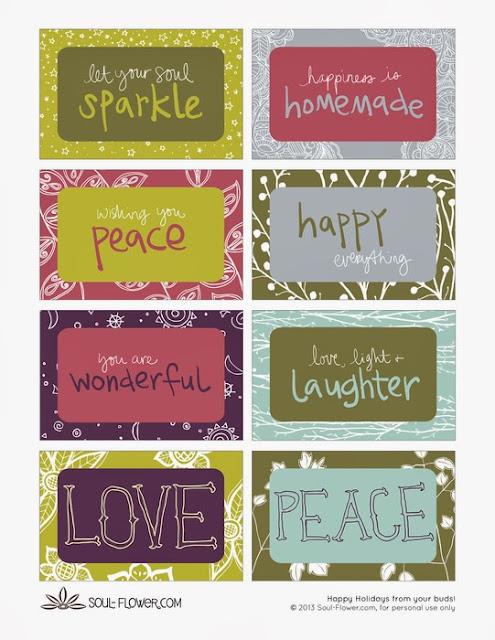 Printable Gift Tags Soul Flower