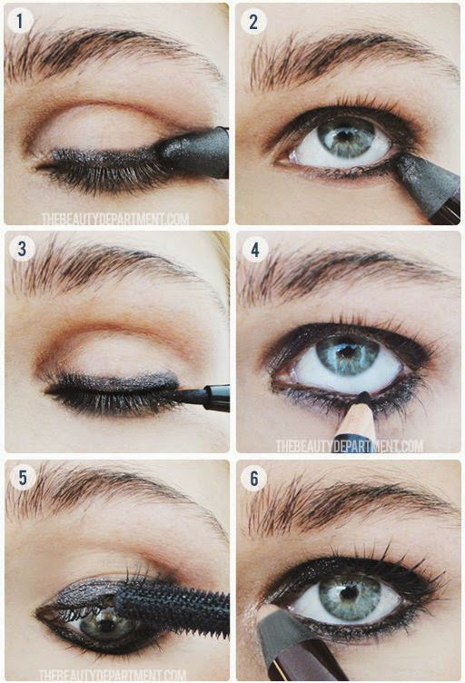 Black Sparkle Liner, Black Liquid Liner, Pearl Sparkle Shadow Stick. Try this eye the next time you go out and bring out your moodier side!