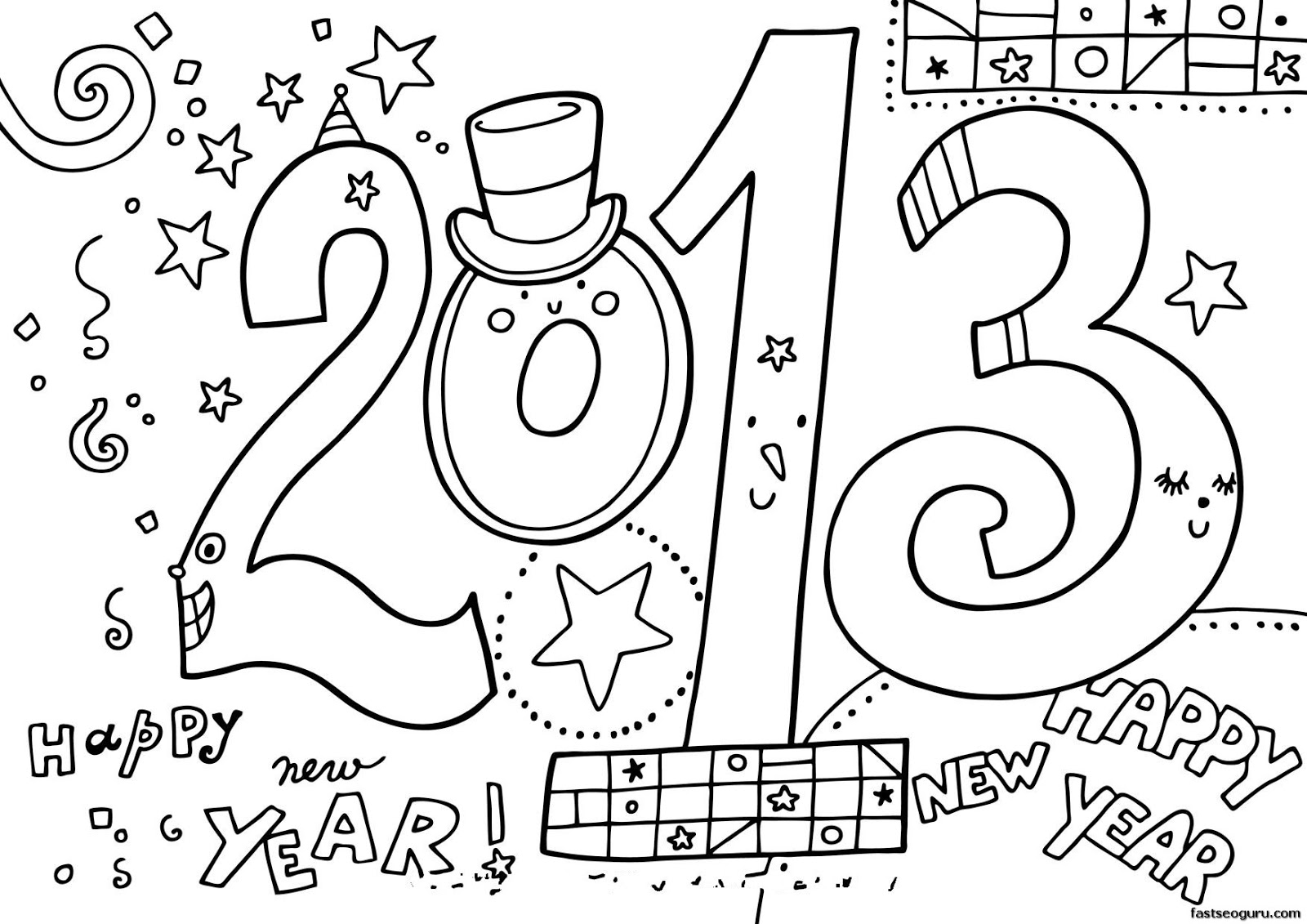 filename new year 2013 printable coloring page_1jpg