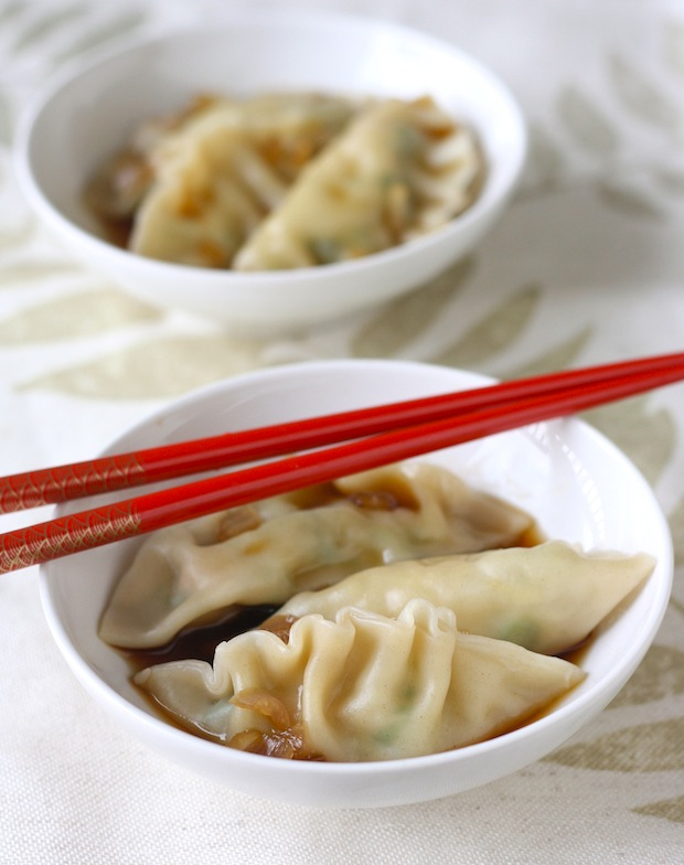 Dumplings with Andrew Zimmern's Asian sauce featured on SeasonWithSpice.com