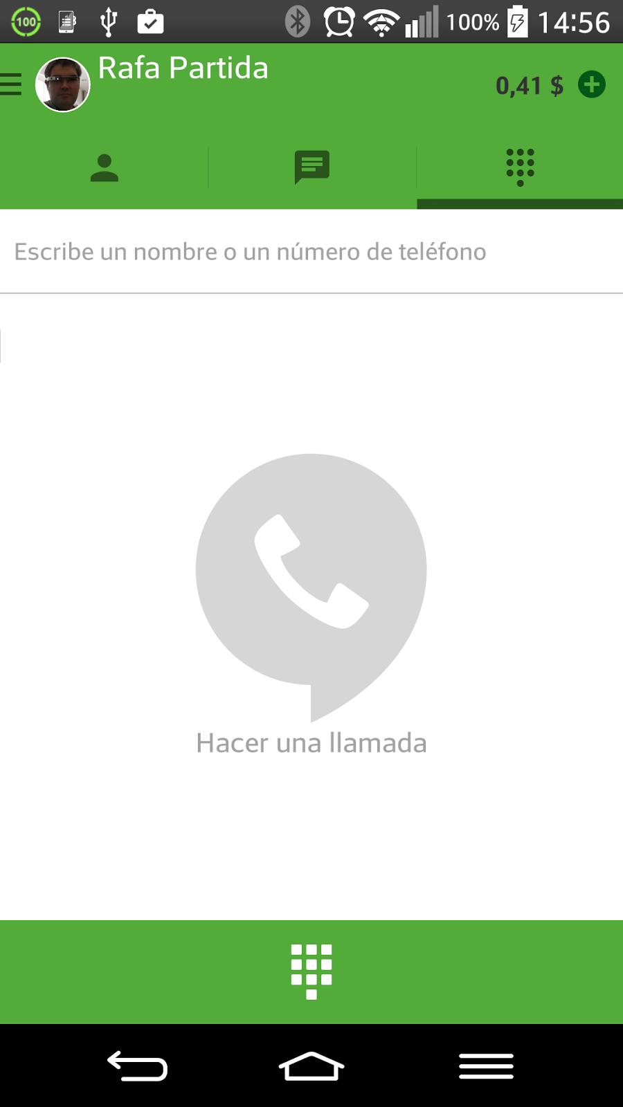 Descarga la aplicación complementaria Hangouts Dialer para poder realizar llamadas.