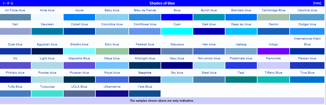 there are numerous shades of blue i got this nice photo from wikipedia