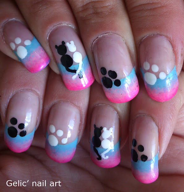 gelic' nail art cats in love funky