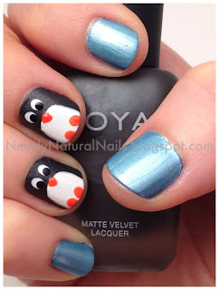 Penguin nail art, Happy Feet 2 manicure, 31 day nail challenge, day 23, inspired by a movie, penguin nails, dotting tool, natural nail polish, vegan nail polish, big 3 free, big 5 free, No-Miss Arcadia Aqua, Zoya Snow White, Zoya Dovima, SpaRitual Street Smart, SpaRitual Solaris