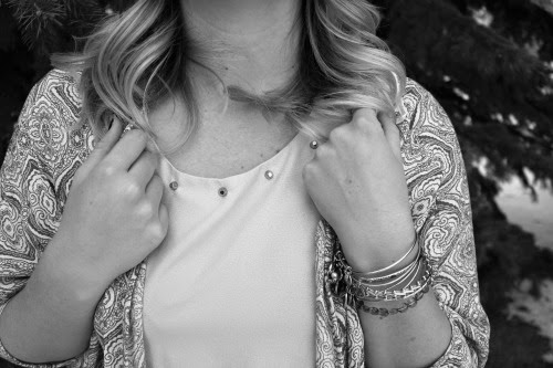 kimono, studded shirt, alex and ani