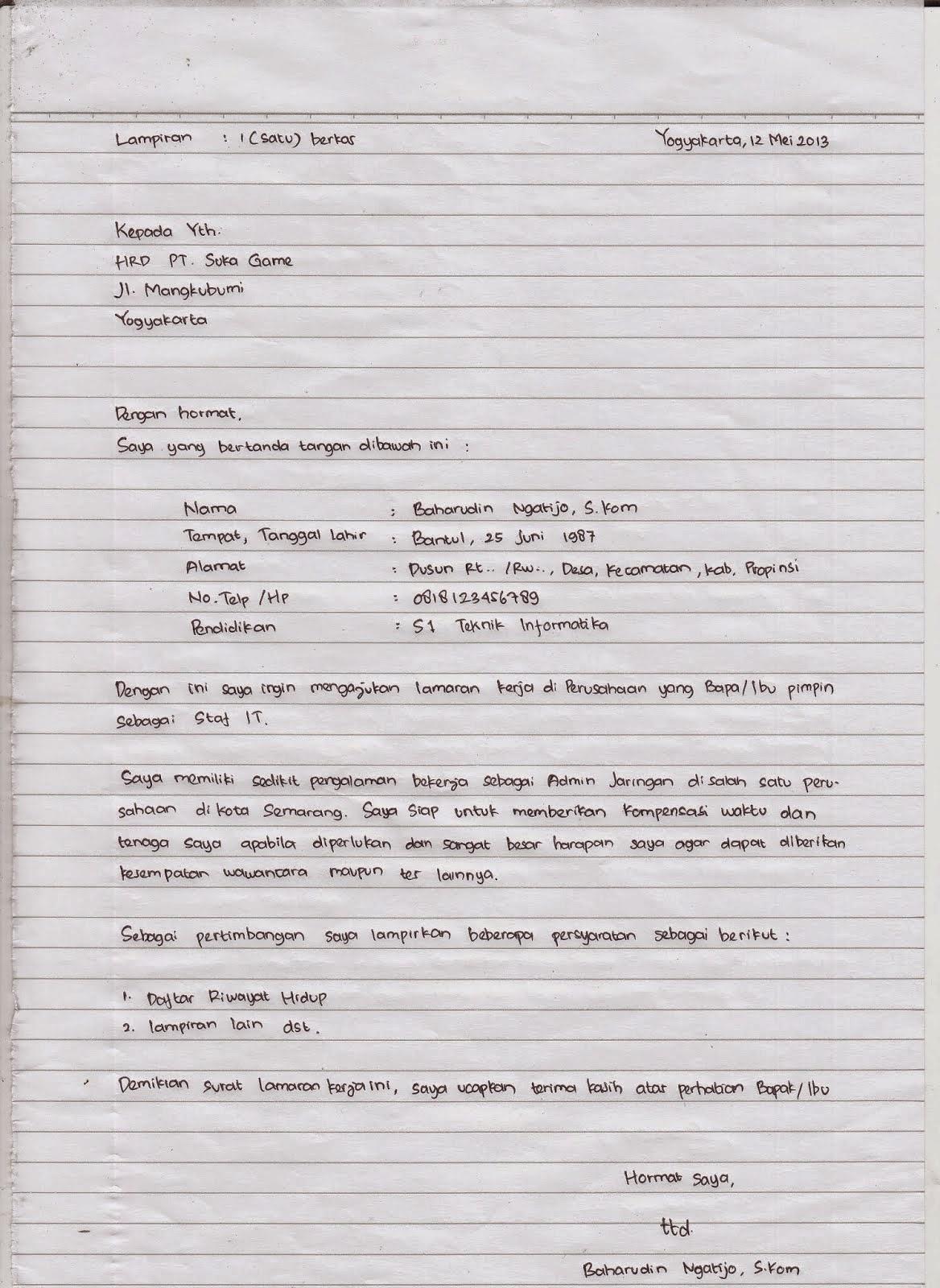 contoh surat lamaran kerja tulis tangan dan ketik