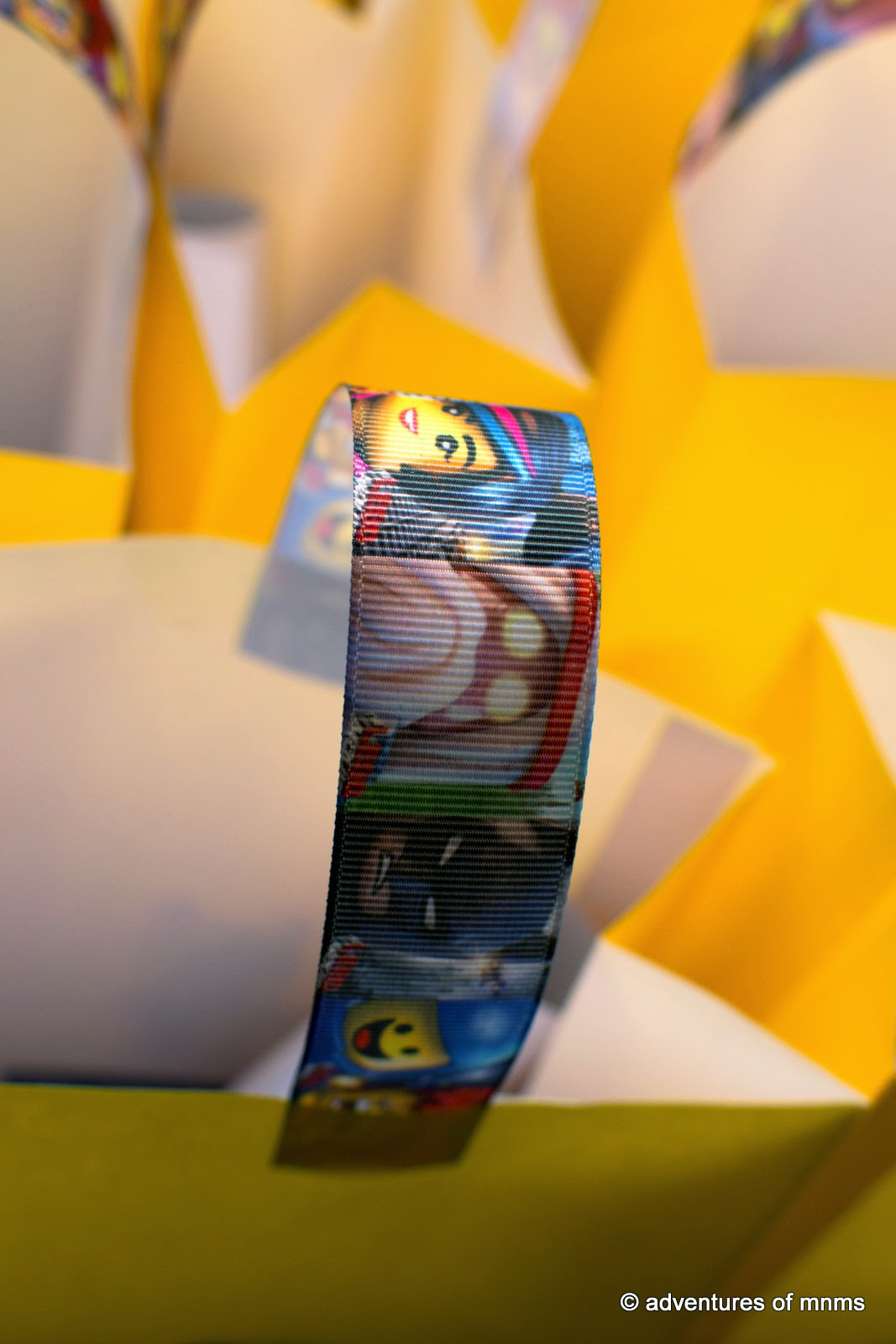 LEGO movie party loot bags ribbon