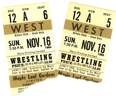 Toronto Maple Leaf Gardens wrestling ticket stubs: November 16, 1986; Gold, Box 12, Row A