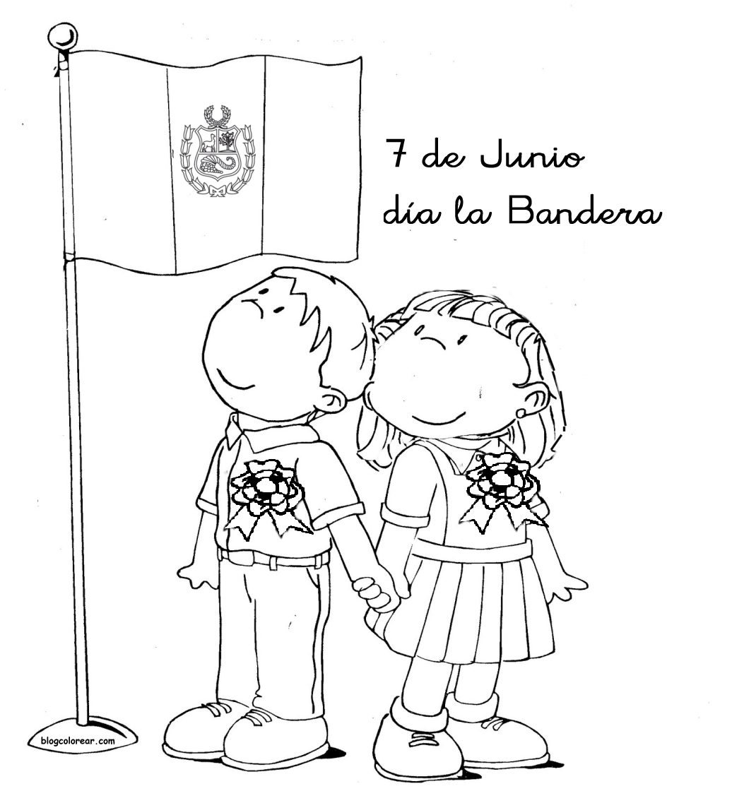 A Para Colorear De La Bandera Del Peru