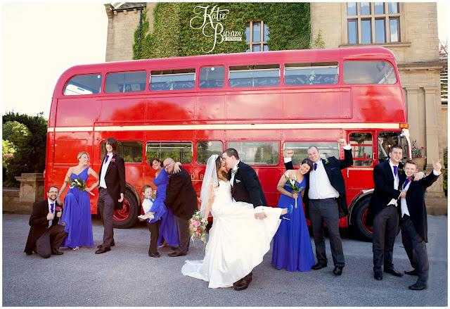 bagden hall wedding, red bus wedding, vintage bus wedding, yorkshire heritage bus company, red bus days, huddersfield wedding, katie byram photography