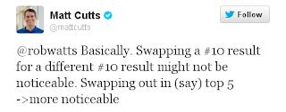 Matt Cutts replies robwatts Basically