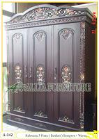 Lemari Pakaian Ukiran Rahwana 3 Pintu ( Serebet ) Semprot Melamine dan Warna