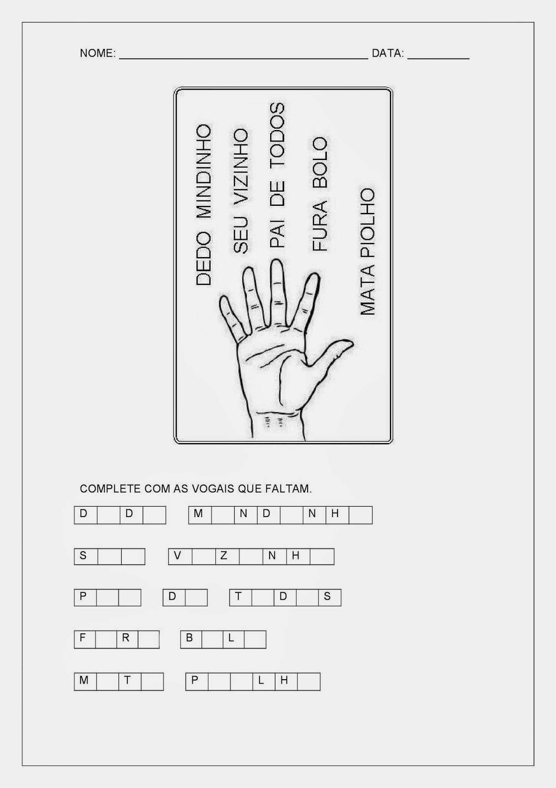 Atividades de Português - Atividades de Alfabetização - Complete com Vogais