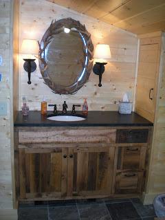 Reclaimed oak vanity soapstone top  www.huismanconcepts.com