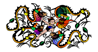 cartoon of boy fighting dragons