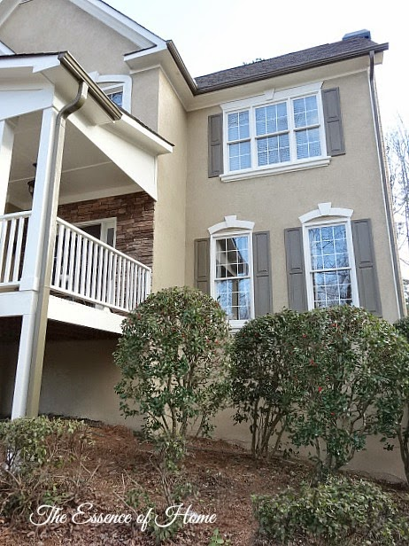 This Picture Shows You More Of The Color We Used. We Used To Have A Taupe  Colored House With Black Shutters. Now It Is A Beige Color House With Olive  Green ...